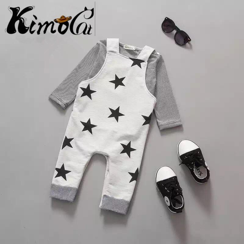 55ec91e597e8 2018 Kimocat New Long Sleeve + Suspenders Baby Boy Girl Clothes ...