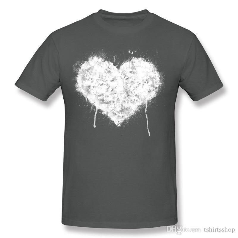 Best Choice Men's 100% Cotton Fabric Grunge Heart - White T-Shirts Men's O Neck Navy Blue short Sleeve T-Shirt 3XL Classic T-Shirts