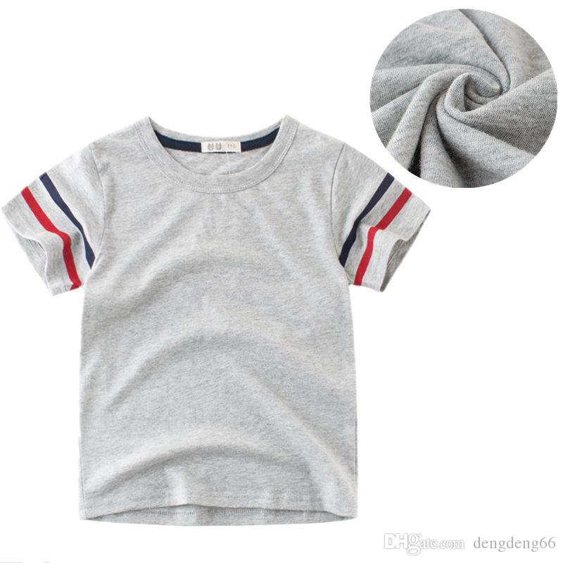fe5c48f4 Kids Boys Solid T-shirt Pure Cotton Boys Short Sleeve T-shirt Tank Tops  Breathable Childrens Round Neck Casual Summer Tee Shirts