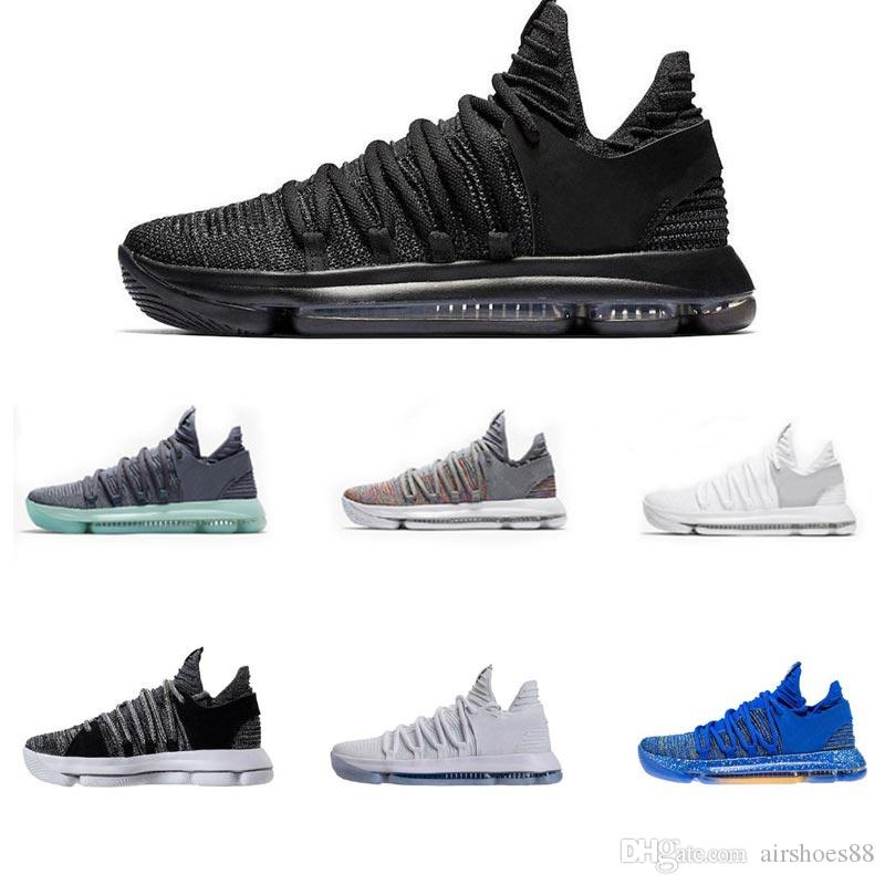 wholesale dealer 281b6 c7868 2018 Zoom KD 10 Anniversary PE BHM Red Oreo Triple Black Men Basketball  Shoes KD 10 Elite Low Kevin Durant Athletic Sport Sneakers Shoes Canada  Carmelo ...