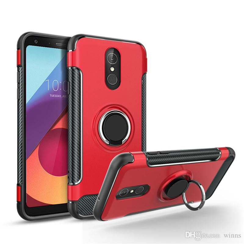 new style 42278 780ae Popular Phone Case For LG Q7 Aristo 2 X210 LG Q6 G6 G7 V3 V5 Carbon Fiber  Rubber PC TPU Cover Flexible Case