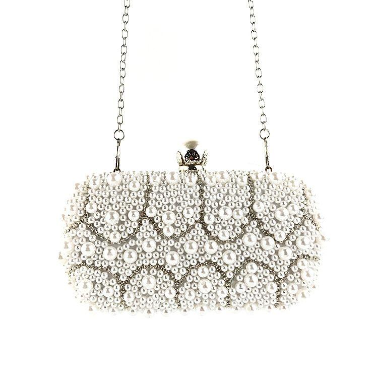 39386c1176c Beautiful Evening Bags Diamond Rhinestone Pearls Beaded Day Clutch Women's Purse  Handbags Wallets Evening Wedding Bag Bling
