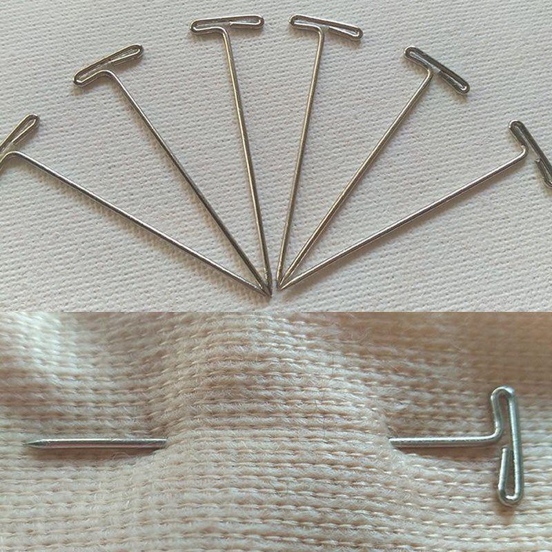100 unids / lote T Pines 1.0mm * 45mm Para Peluca Pieza de Pelo Tupés Cabello Que Teje Fijado En Lienzo Cabeza T Forma Agujas Herramienta DIY
