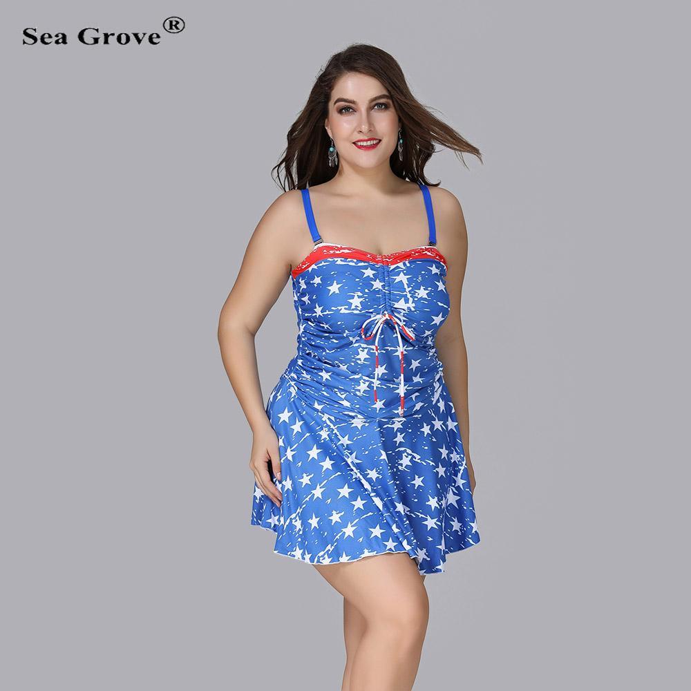 Blue Star Pattern One Piece Swimsuit Plus Size Swimwear Women Large ... 3ff5ff68f52f