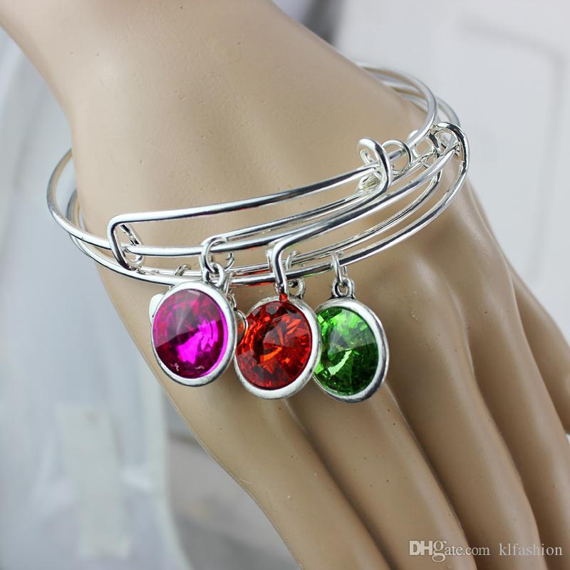 Vendita calda birthstone argento colore filo espandibile braccialetto braccialetti le donne i fai da te filo braccialetto amico regali di compleanno all'ingrosso