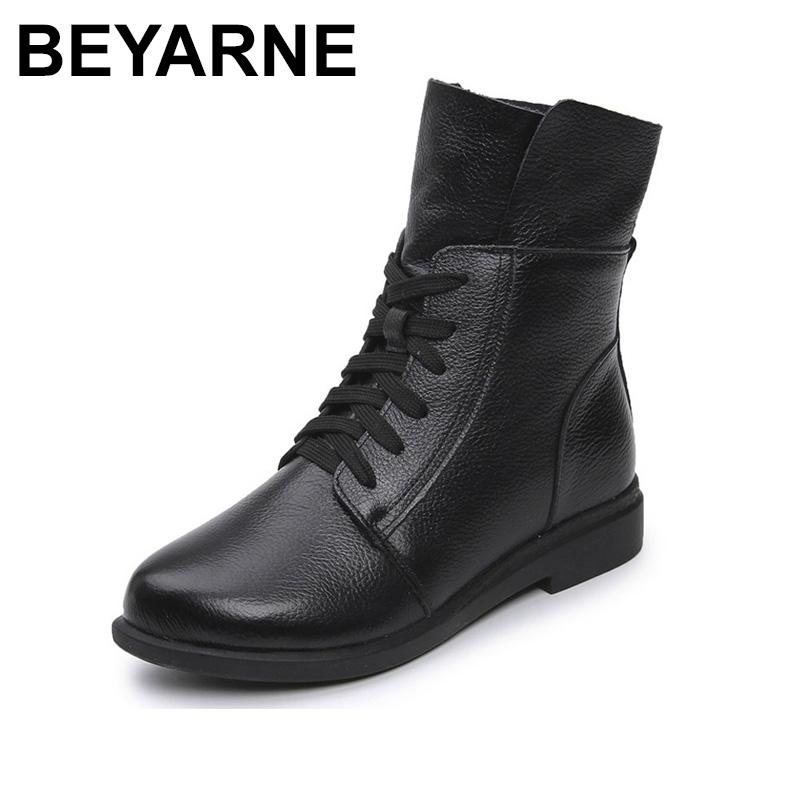 BEYARNE Fashion Cow Genuine Leather Women Ankle Boots Square Heel Martin Boots Ladies Lace Up Motorcycle Black Red Boot