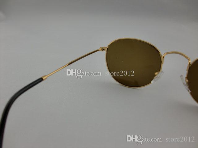 Hot sell New Round Metal Mens Womens Sunglasses Eyewear Sun Glasses Designer Brand Gold black 50mm Glass Lenses Excellent Quality with box