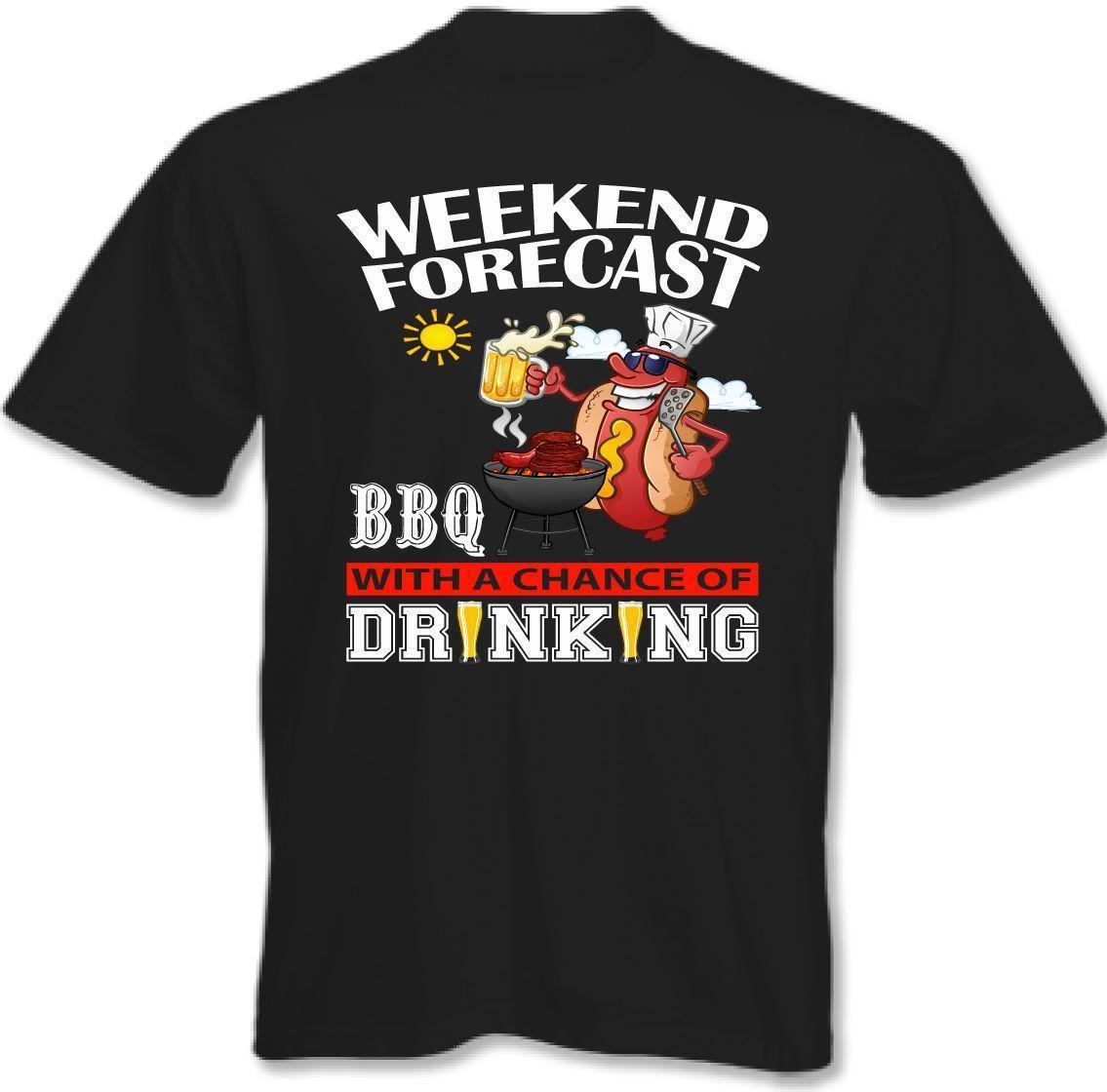 Wochenenden Forecast Grillening Trinken Herren T Shirt Grill Party