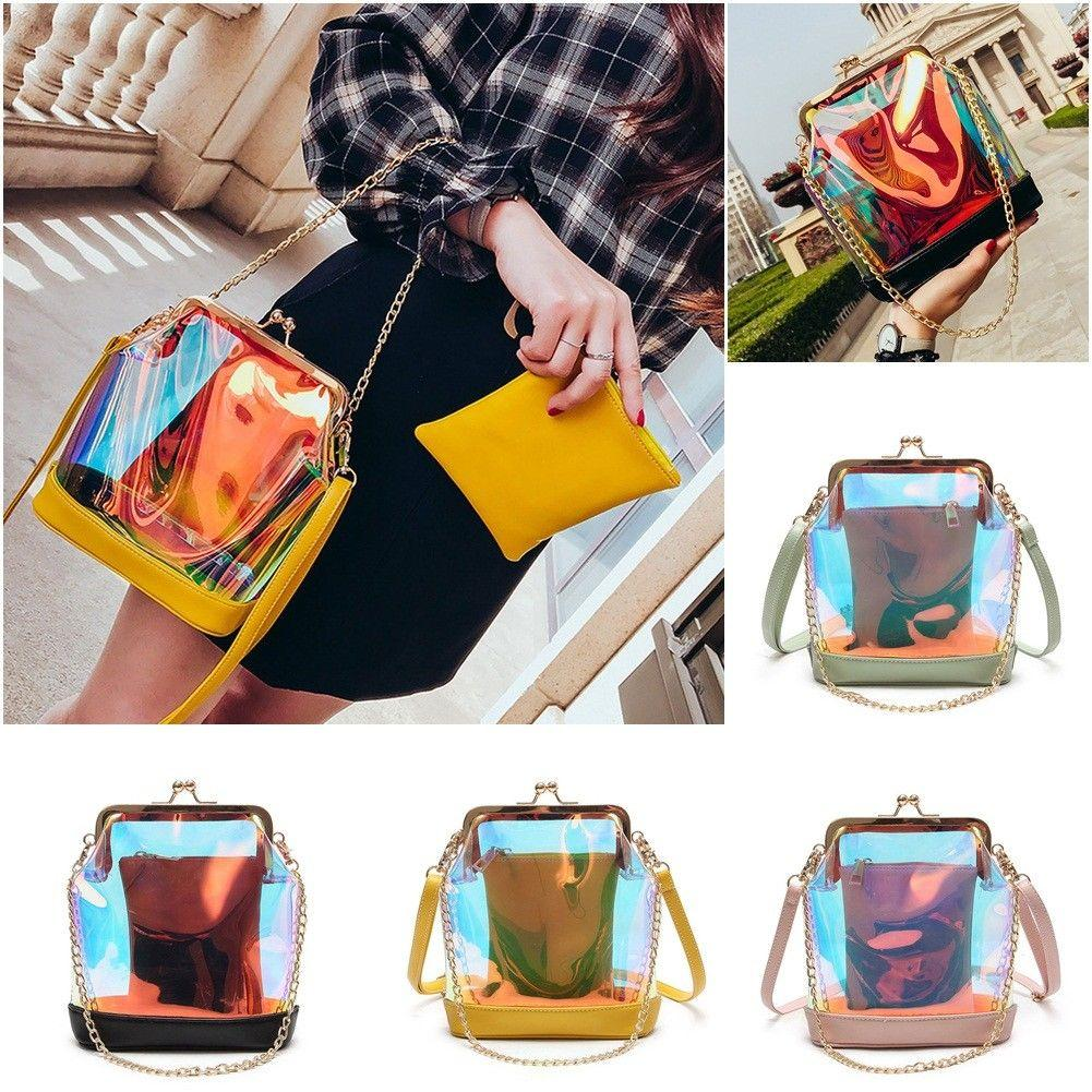 bf6abea12f97 Women Messenger Bag Pearl Clear Transparent Polyester Hologram Laser  Colorful Bag Girls Small Chain Clutch Crossbody Bags GGA353 Transparent  Messenger Bag ...