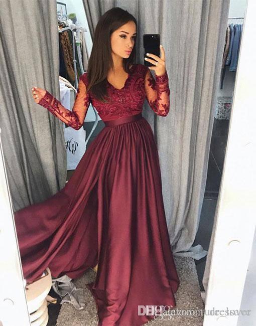 2019 Borgonha Vestidos de Baile De Cetim Rendas Com Decote Em V-A Linha de Mangas Compridas Com Zíper Formal Evening Dresses Custom Made Vestidos de Festa