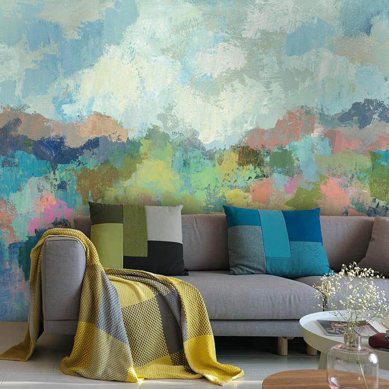 Tuya Art Mural Wallpapers Blue Color Watercolor Moutains Wall Paper For The  Living Room Bedroom Kitchen Room Large Size High Res Desktop Wallpaper High  Res ...