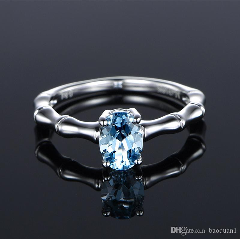 Fashion Natural Aquamarine Ring For Women Creative Bamboo Simple Ring Electroplated Platinum 18K Alloy Wedding Joker Solitaire Ring