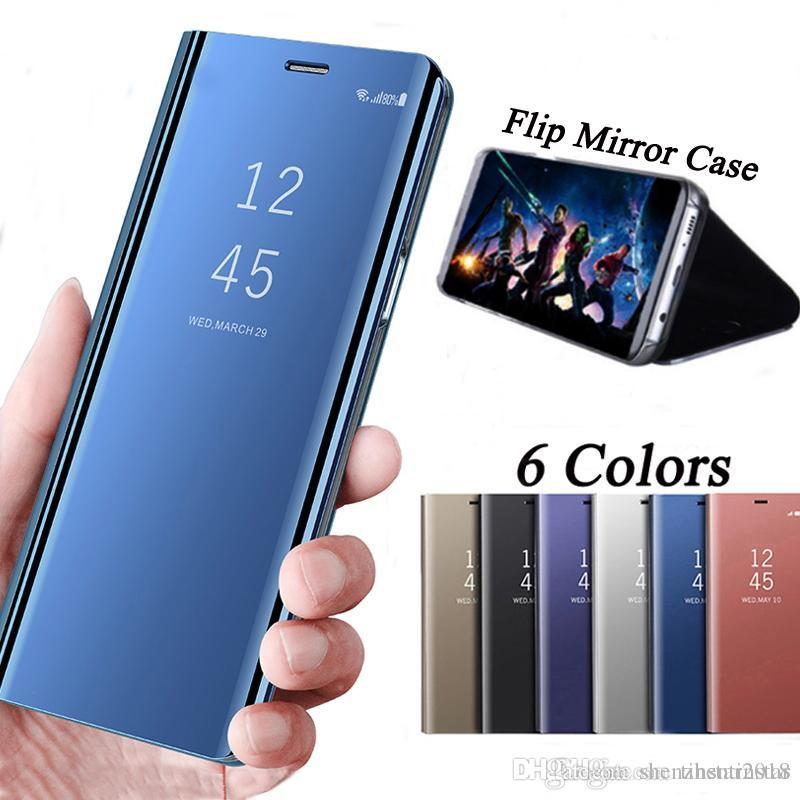 wholesale dealer eeb8e d8a77 Mirror Case For Samsung Galaxy A5 A6 A7 2018 Plus Case Smart Clear View  Flip Stand Leather Cover For Galaxy Note 4 5