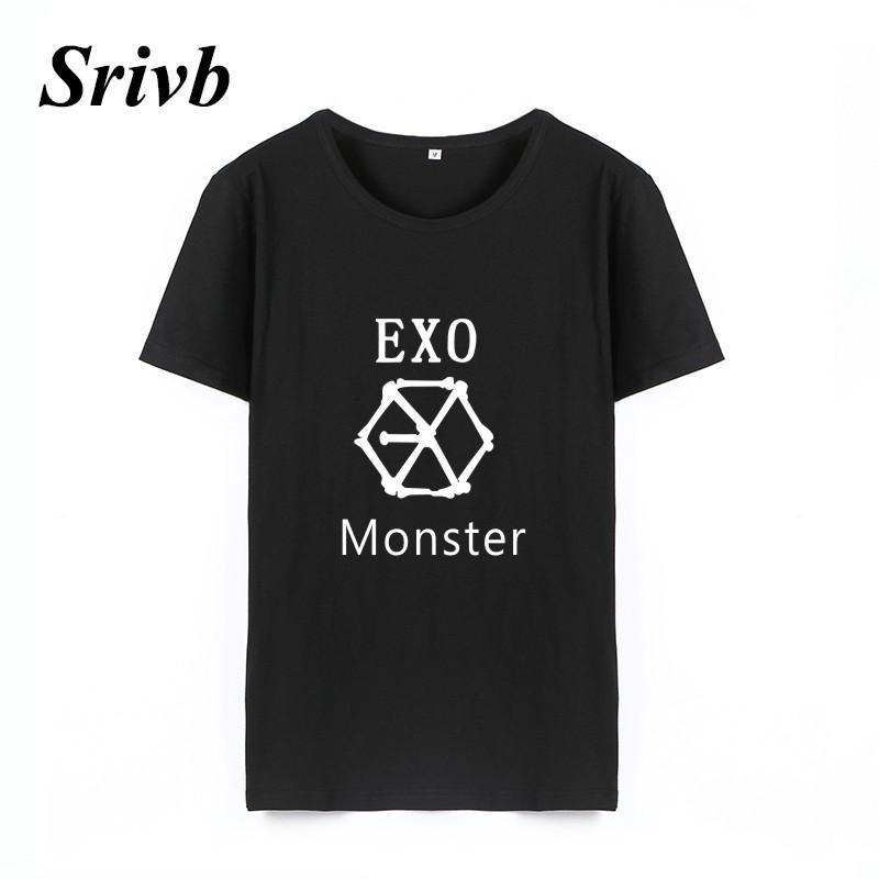 Women s Tee Srivb Exo Monster Punk Rock Tumblr Women Tshirts For Summer  Harajuku Funny Graphic Loose T Shirt Women Femme Vogue Short Sleeve