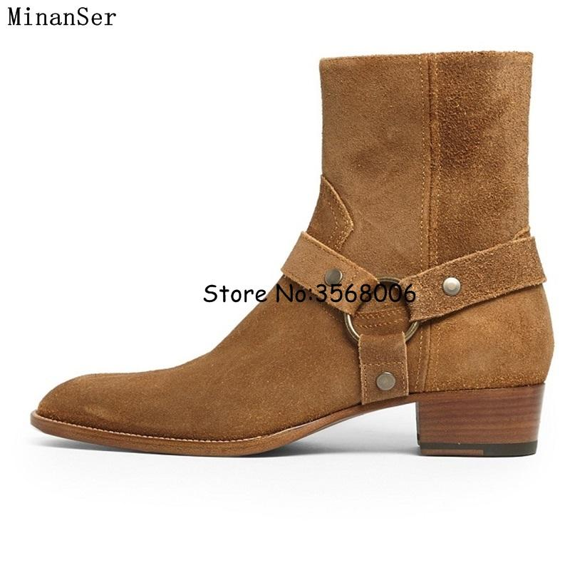 ac9f4f6e6 Genuine Leather Suede Men Boots Side Zipper Cool Street Style Man Ankle Boots  Shoes Round Toe Rome Male Casual Shoes Work Boots Knee High Boots From  Smart78 ...