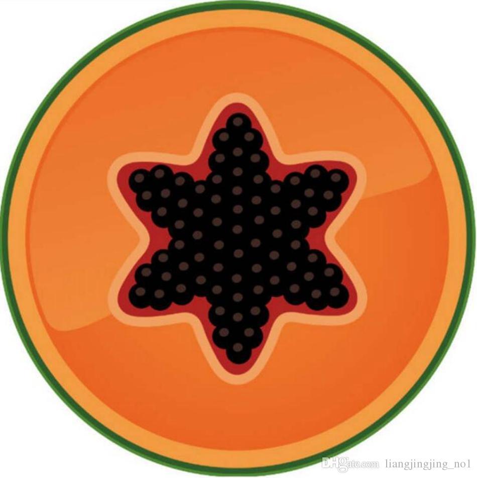 Фруктовый узор печатных круглое пляжное полотенце 150 * 150 см летнее банное полотенце 3D киви оранжевый йога коврик OOA4669