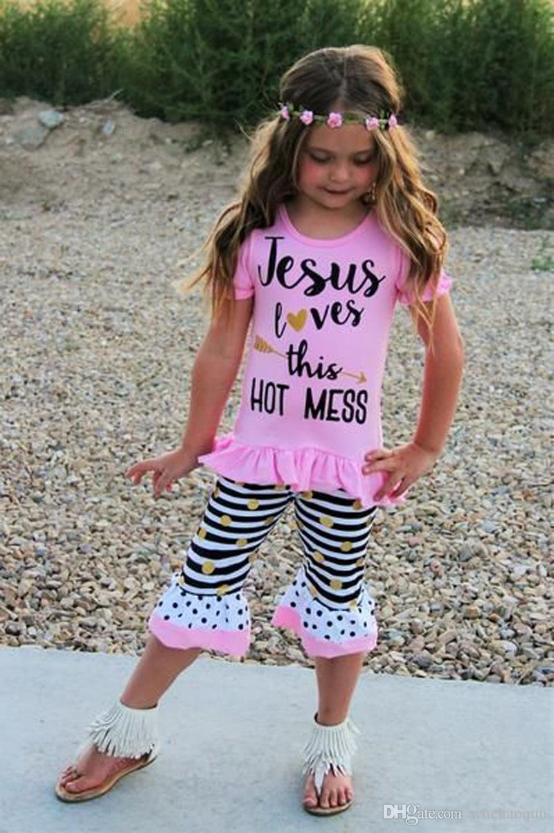 Bambino Abbigliamento bambini Set Lettere magliette Pantaloni Fasce Set Moda Estate Ragazza bambino Bambini Tute Abiti Boutique Abiti Abiti BY0122-6