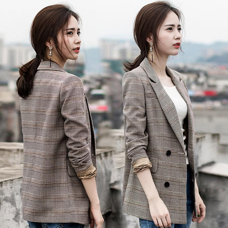 fb9bfc4182 2019 Plaid Small Suit Jacket Female Korean Version 2018 Spring And Autumn  New Thin Temperament Ladies Casual Long Sleeved Suit Jacket From Honjiao