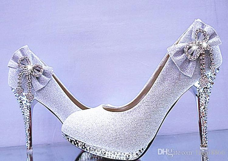 60ebba7491 Wedding Shoes Woman High Heels Crystal Diamond Platform Bridal Shoes  High-heeled Dress Shoes Women Pumps Size 34-41