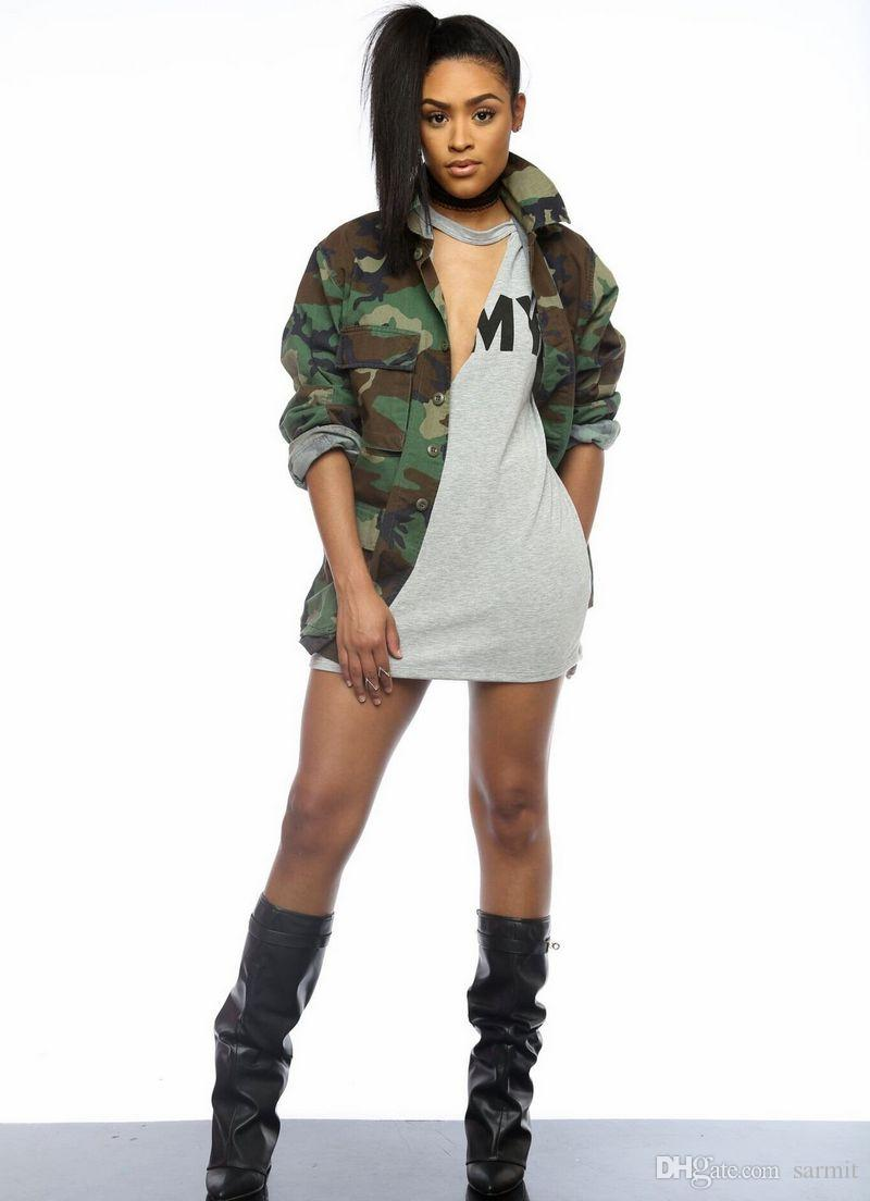 Camourglage Trench Coats Women Long Military CHEAPEST Trenchcoat Long Duster Coat F0479 V Neck Long Sleeve S-3XL