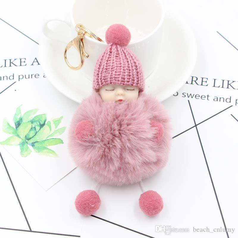 2019 Sweet Fluffy Pompom Sleeping Baby Key Chain Faux Rabbit Fur Pom Pon  Knitted Hat Baby Doll Keychains Car Key Rings Toy Jewelry Gifts From  Beach cnlumy 3642e07d61c4