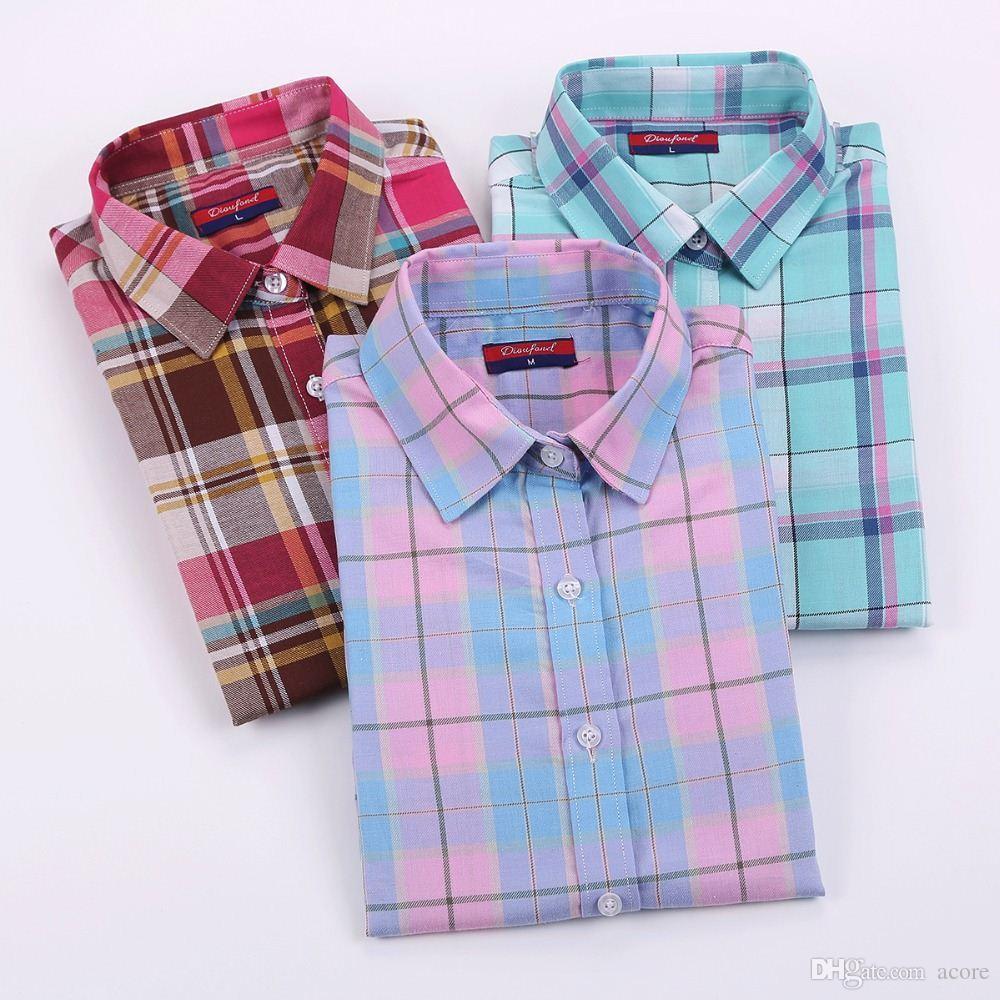 6e13b5ca136 2019 Dioufond Cotton Plaid Shirts Women Blouses Long Sleeve Ladies ...
