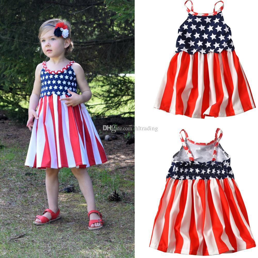 07b5019434275 Baby girls American flag dress 2018 summer 4th july Children suspender Star  stripes print princess dress Kids Clothing free shipping C4246