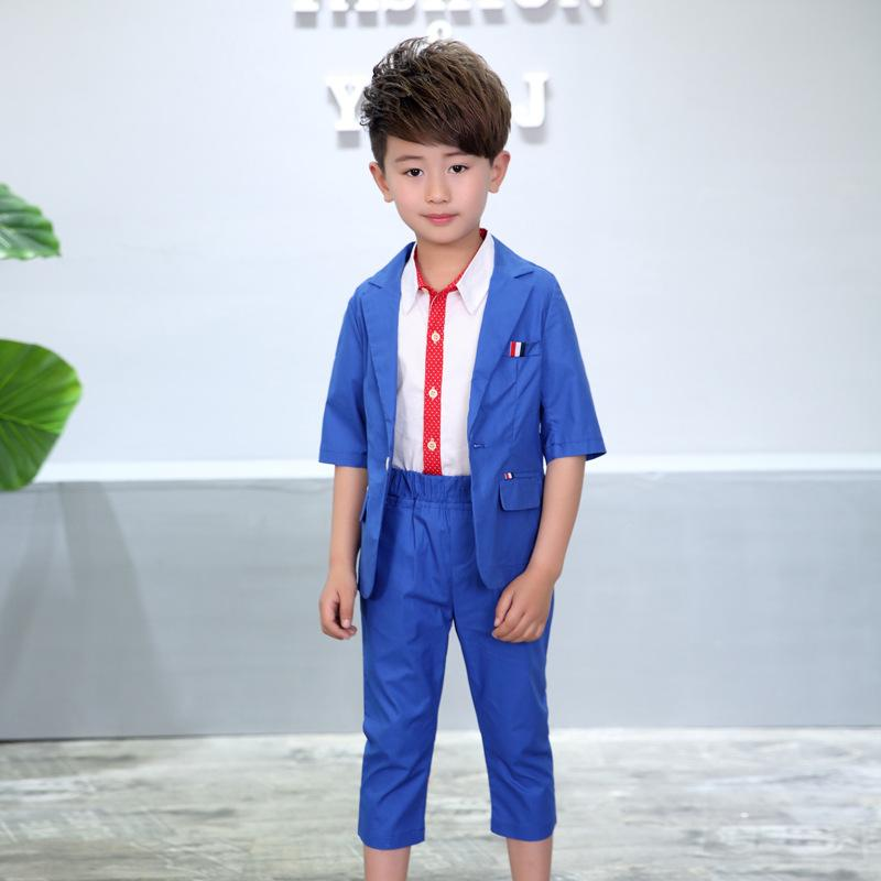 2018 Boys Solid Blazer Suit Brand Flower Kids Formal England Style