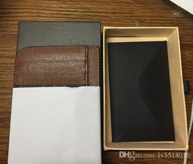 2018 اسم العلامة التجارية الشهيرة النساء والرجال حاملي بطاقات الائتمان جلد طبيعي حامل بطاقة الائتمان damier graphite canvas Card Wallet