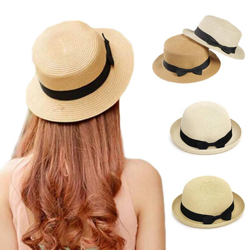 16bf346a7a7 Summer Panama Hats for Women Straw Hat Ribbon Bow Round Flat Top ...