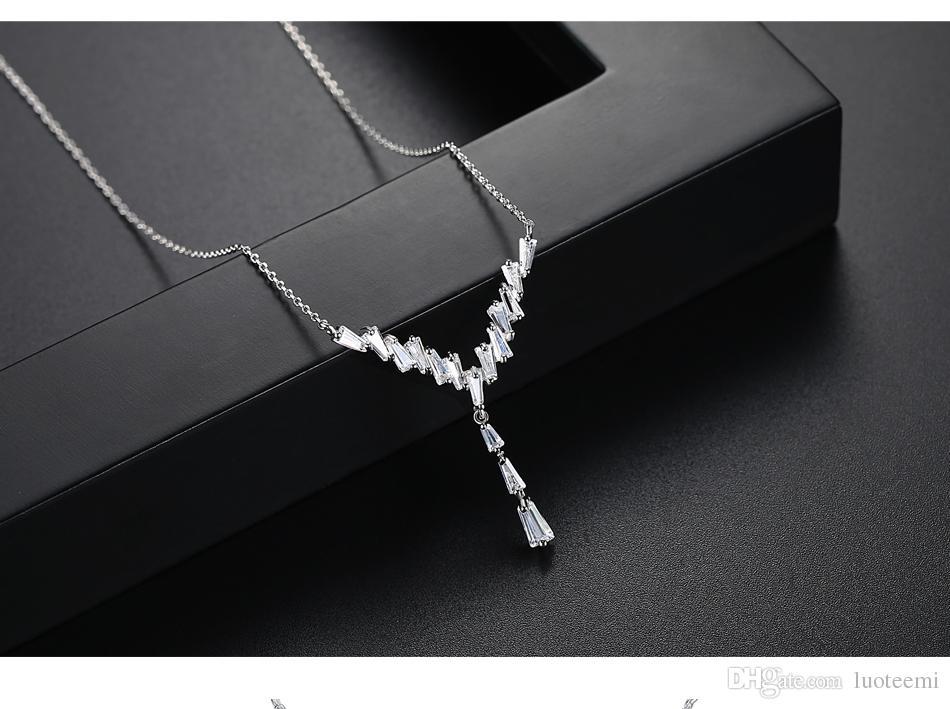 LUOTEEMI Plata Color Geométrico de Lujo Cristalino Cúbico Cúbico Piedra Gargantilla Collar Nupcial Para Las Mujeres Joyería de La Boda Collar