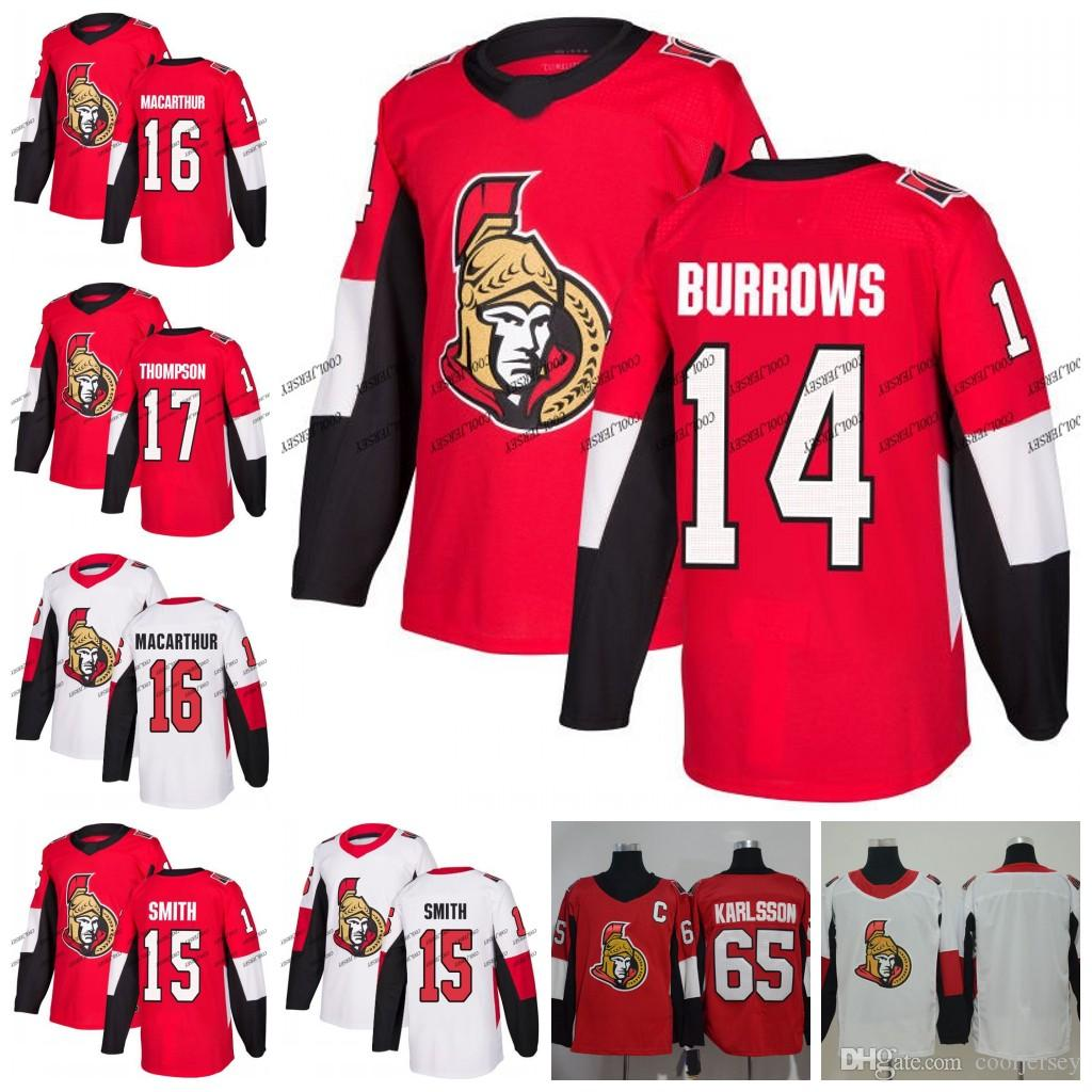 pretty nice ed819 1265a Custom Ottawa Senators 14 Alex Burrows 15 Zack Smith 16 Clarke MacArthur 17  Nate Thompson 100th Classic Hockey Jerseys White Red S-60