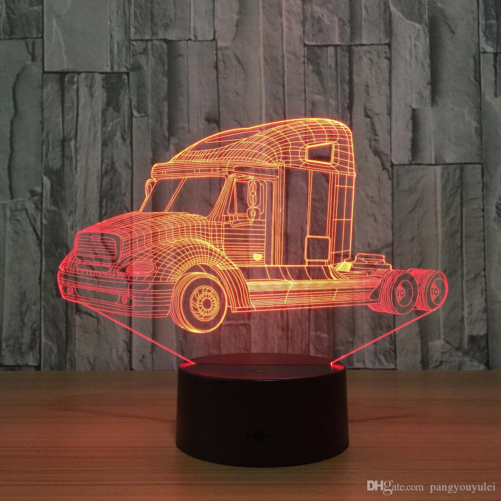 Lamp Kids Led Light Indoor Shipping Decoration 3d Cable As Gifts Usb Truck Lights Toy Night Acrylic Drop Desk Table Free WDE9H2I