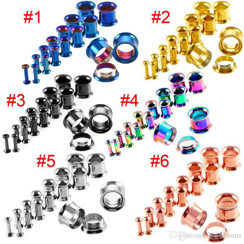 Ear Stretching Kit Plugs Ear Plug Ring Expanders Tunnel Screw Fit Tapones para los Oídos Gauged Jewelry 16 unids / set G84L