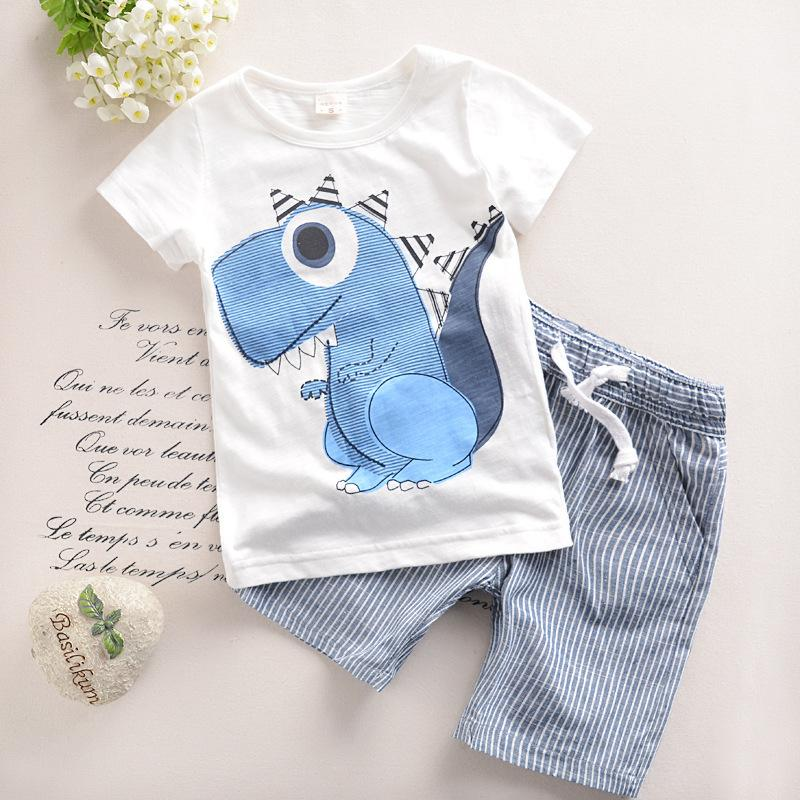 0-6years Toddler Boys Clothing 2017 Children Summer Boys Clothes Cartoon Dinosaur Kids Boy Clothing Set T-shirt+shorts T501 Y1893004