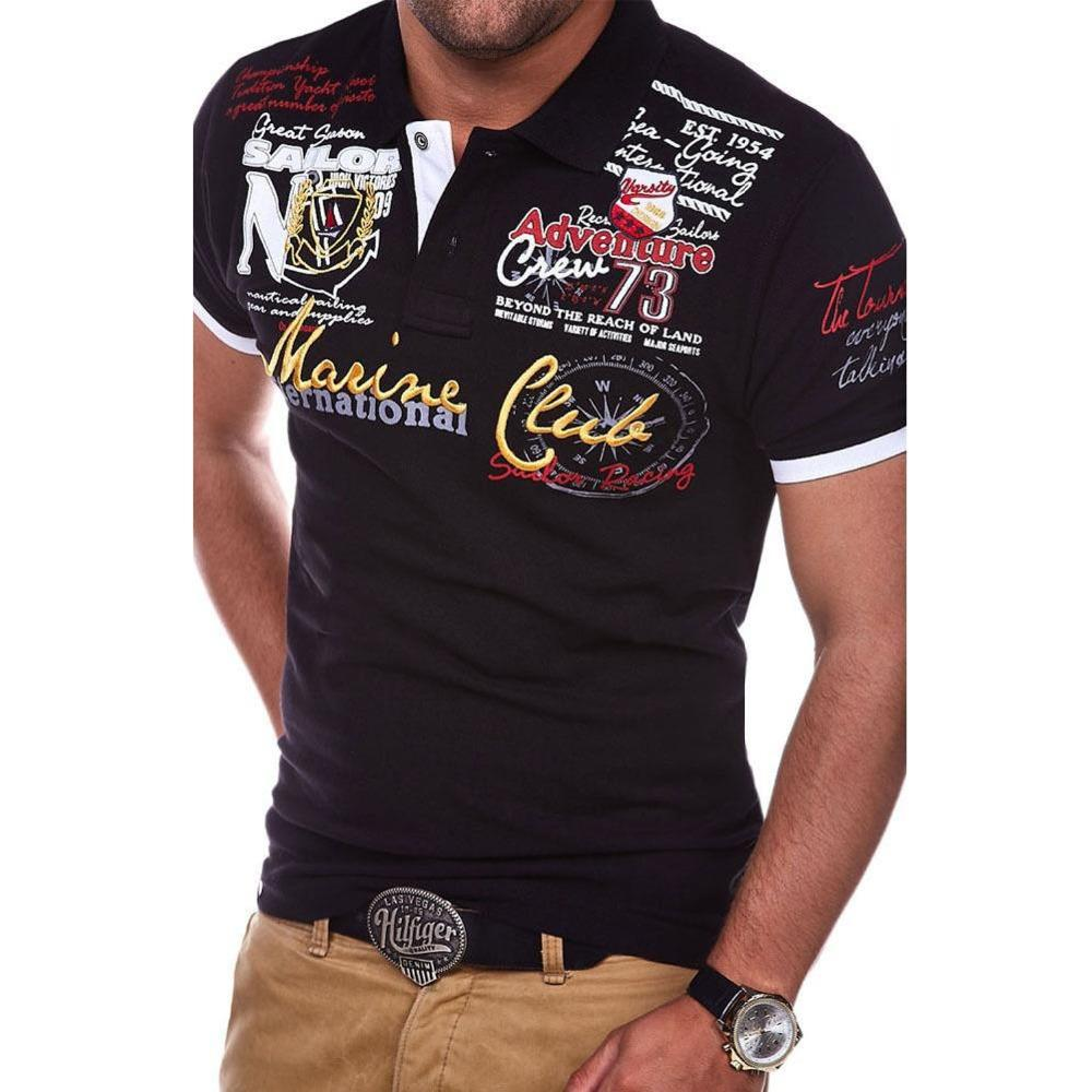 2e8aba52c ZOGAA Men's Polo Shirt Fashion Letter Printed Cultivating Short-sleeved  Polo Shirts Brand New Top Casual Clothes