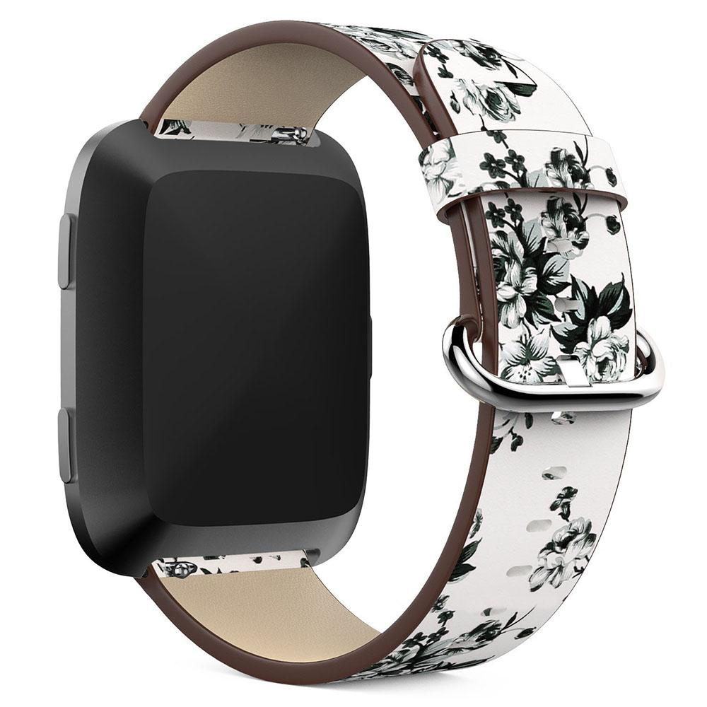 Peony Flower Print Watch Band for Fitbit Versa Replacement Watch Accessories Leather Wristbands Straps Bracelet Flower Strap