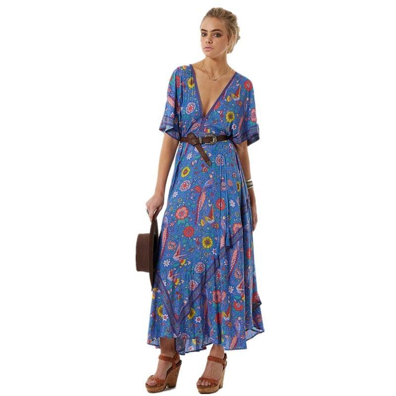 874f2b3ba3cc8 Boho Dress Sexy V-Neck Tassel Short Sleeve Women Dresses 2018 Blue Bird  Floral Print Summer Dress Bohemia Long Dresses Y1891104