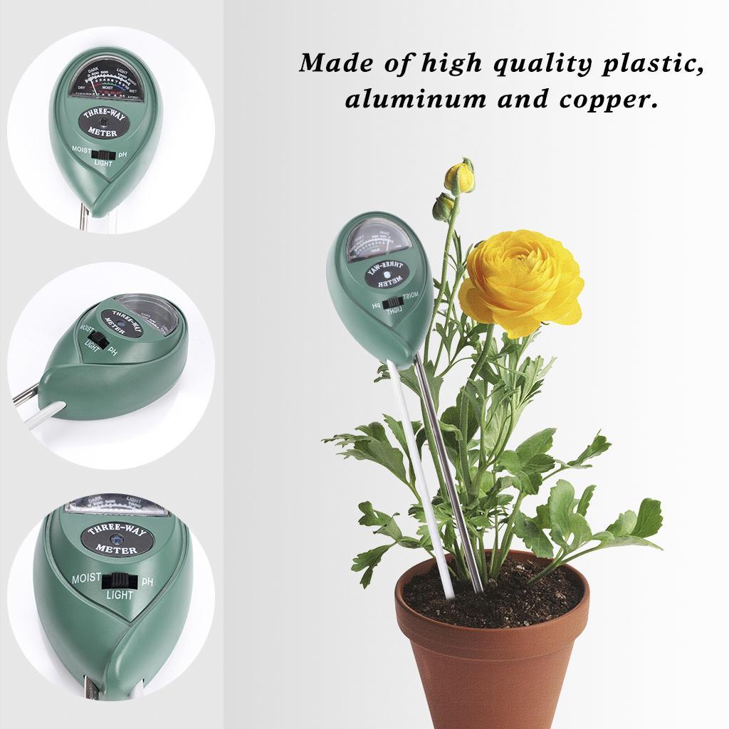 3 Em 1 Soil Tester Com Medidor de Umidade, Luz e PH Teste de Acidez Leve Material Plástico Sem Bateria Verde Necessário
