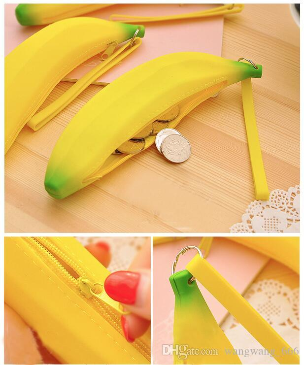 Lovely silicone Banana wallet Storage Bag pen packing mini key case coin storage top quality bags