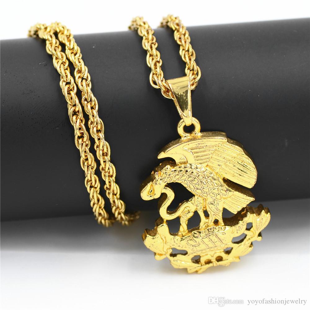 Uodesign Hip Hop Iced Out Bling Adler Essen Schlange Anhänger Halsketten Gold Farbe Halskette für Männer Schmuck