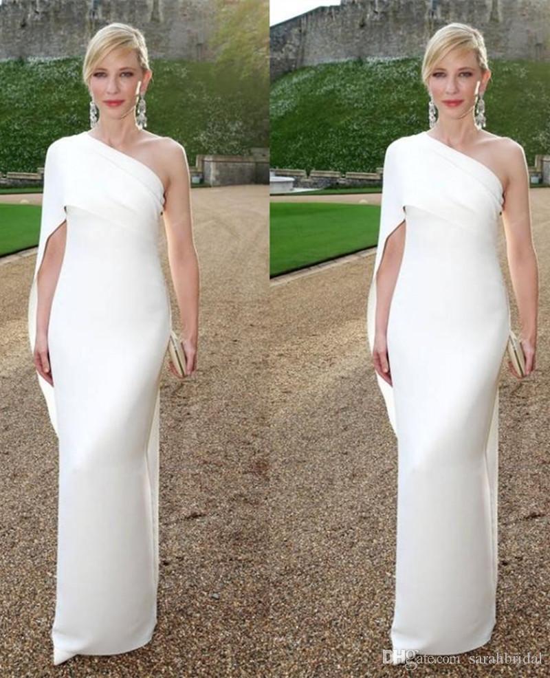 Elegante branco Um Ombro bainha Longos Vestidos de Cetim Zíper divisão manga 2019 novos Vestidos de Noite de Verão Vestido de Baile Robe De Soiree