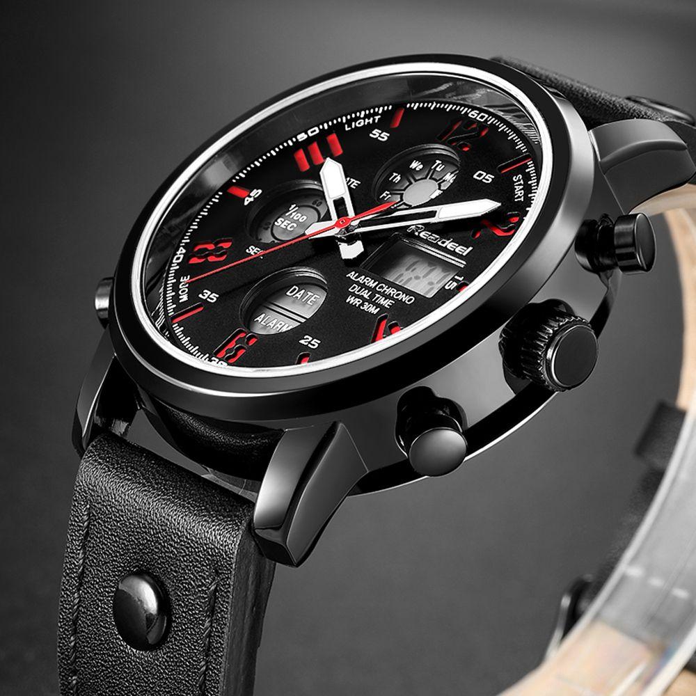 4ca54b10b7ab Compre Readeel Mens Relojes Para Hombres De Marca De Lujo Relojes Deportivos  De Cuero Para Hombre Quartz LED Digital Wwatch Reloj De Pulsera Impermeable  A ...