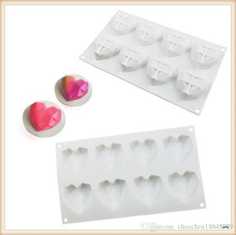 8holes heart diamond mousse Cake Mold Silicone Soap Mold For Handmade Soap Candle Candy bakeware baking moulds kitchen tools ice molds