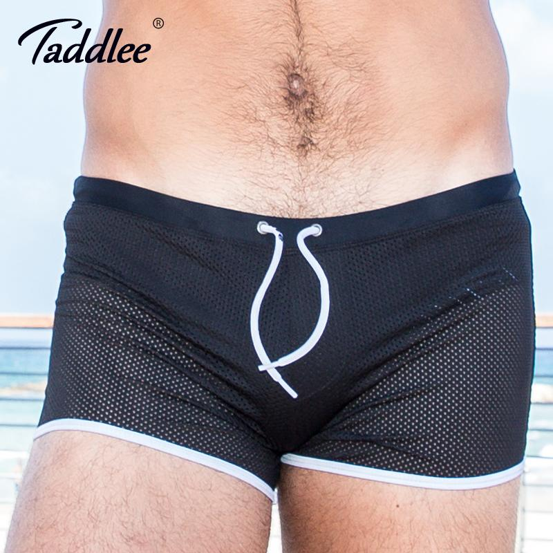 0b8c81b09bf33 Taddlee Brand Swimwear Men Swimsuits Swim Boxer Trunks Shorts Men's Surf  Board Shorts Gay Black Solid Mesh Swimming Plus Size
