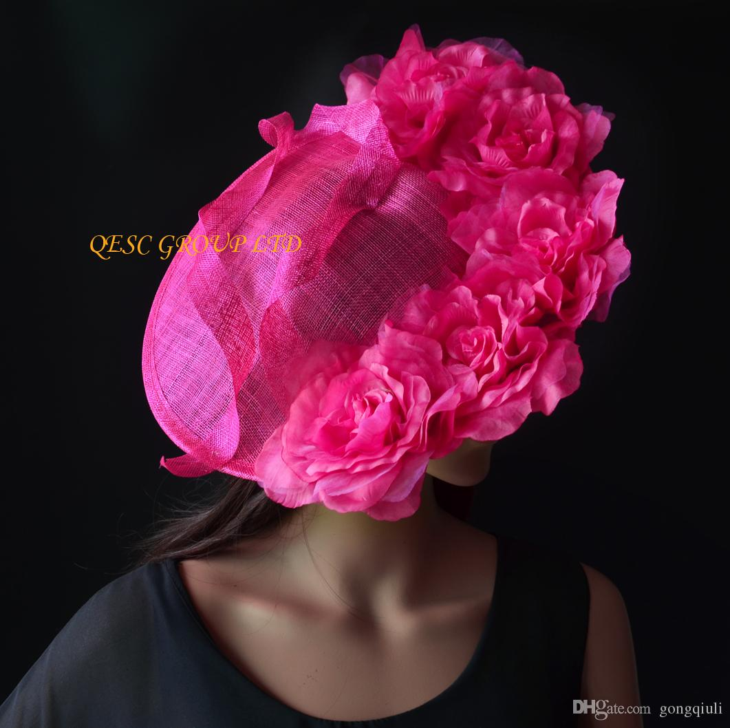 Hot Pink Fuchsia Large Silk Flower Fascinator Hat Formal Hat For