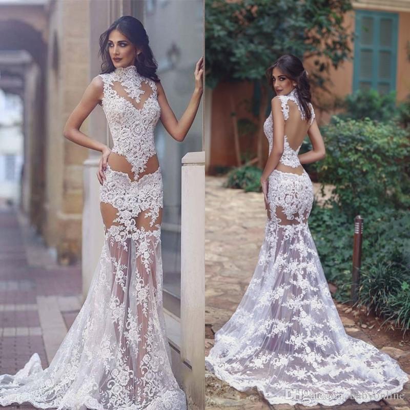 2019 Сексуальная видеть сквозь кружева вечерние платья прозрачный лиф арабские аппликации длинные платья выпускного вечера высокая шея спинки BA8243