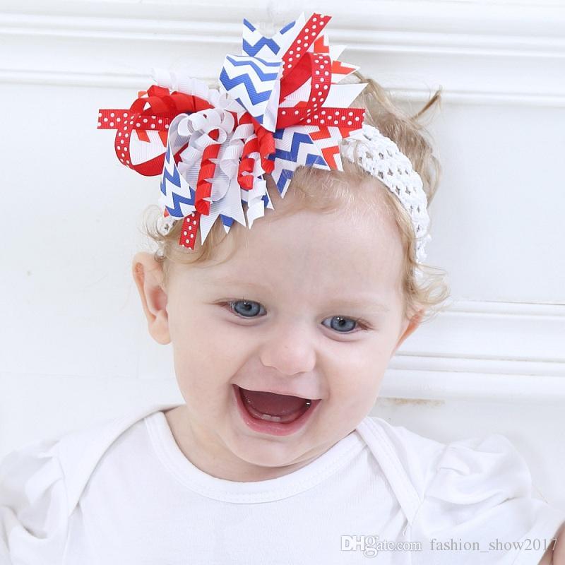 4th يوليو الطفل كيد عقال الشعر hairwear العام الوطني القوس مرونة الرضع كيد عقال أغطية الرأس الأطفال الفتيات