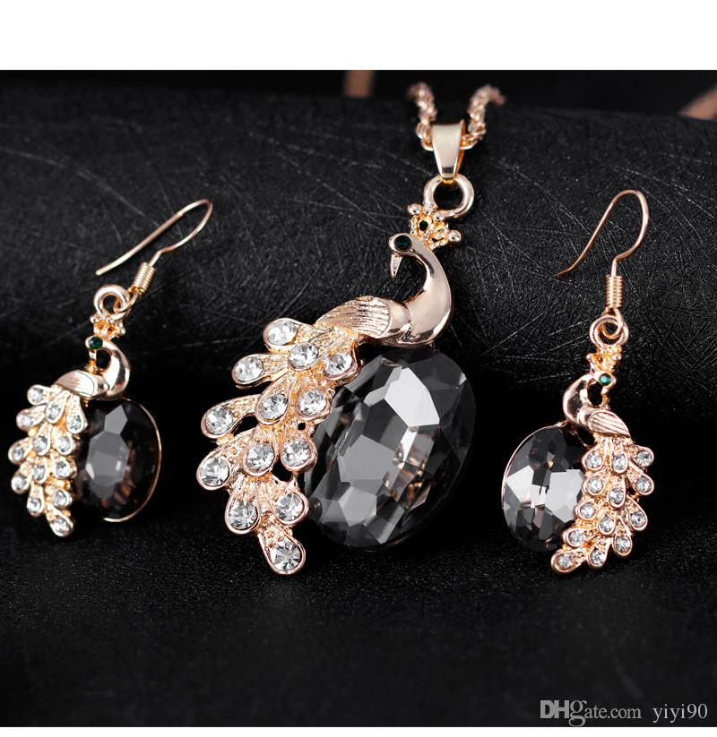 Fashion peacock Animal Rhinestone Crystal Alloy Chain Necklace Dangle Earrings Sets Women Girl's Engagement Gift Jewelry