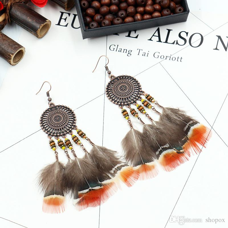 Bohemia Long Section Feather Earring Female Europe and America Fashion Temperament Tassel Alloy Earring Popular Upscale Women Jewelry Gift